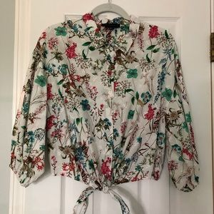 Sanctuary Floral Eyelet Tie Top